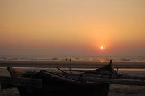 The sun setting in northern Goa