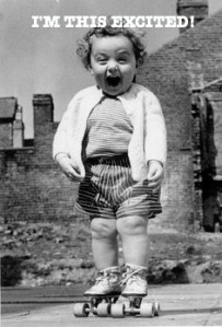 excited, little girl, roller-skates, black and white, 1940s
