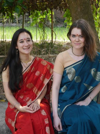 Looking hot (in all senses of the word) in our saris